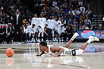 WINSTON-SALEM, NC - JANUARY 23: Wake Forest's Bryant Crawford dives after the ball. The Wake Forest University Demon Deacons hosted the Duke University Blue Devils on January 23, 2018 at Lawrence Joel Veterans Memorial Coliseum in Winston-Salem, NC in a Division I men's college basketball game. Duke won the game 84-70.
