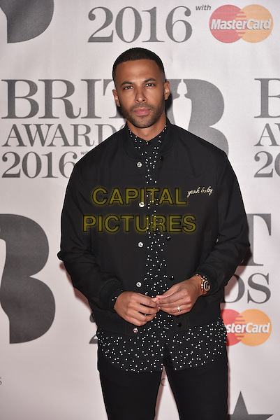 LONDON, ENGLAND - FEBRUARY 24: Marvin Humes attends the BRIT Awards 2016 at The O2 Arena on February 24, 2016 in London, England<br /> CAP/PL<br /> &copy;Phil Loftus/Capital Pictures