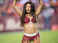 Landover, MD - August 24, 2018: Washington Redskins cheerleaders performs during preseason game between the Denver Broncos and Washington Redskins at FedEx Field in Landover, MD. The Broncos defeat the Redskins 29-17. (Photo by Phillip Peters/Media Images International)