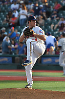 Brooklyn Cyclones pitcher Matthew Allan (44) during a NY-Penn League game against the Staten Island Yankees on August 31, 2019 at MCU Park in Brooklyn, New York.  Brooklyn defeated Staten Island 11-2.  (Robert Pimpsner/Four Seam Images)