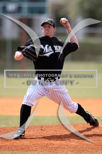 March 20, 2010:  Pitcher Jared Eskew of the Florida Marlins organization during Spring Training at the Roger Dean Stadium Complex in Jupiter, FL.  Photo By Mike Janes/Four Seam Images