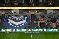 29th July 2020; Bankwest Stadium, Parramatta, New South Wales, Australia; A League Football, Melbourne Victory versus Brisbane Roar; a general view of the empty stadium with team banners displayed in the stand