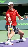 March 26 2017: Kei Nishikori (JPN) battles against Fernando Verdasco (ESP) in 3 sets at the Miami Open being played at Crandon Park Tennis Center in Miami, Key Biscayne, Florida. ©Karla Kinne/Tennisclix/Cal Sports Media