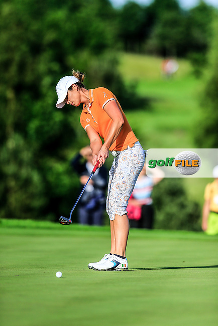 Maria Dunne on the 16th during the Saturday afternoon fourballs at the 2016 Curtis cup from Dun Laoghaire Golf Club, Ballyman Rd, Enniskerry, Co. Wicklow, Ireland. 11/06/2016.<br /> Picture Fran Caffrey / Golffile.ie<br /> <br /> All photo usage must carry mandatory copyright credit (&copy; Golffile | Fran Caffrey)