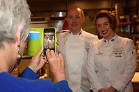 Melbourne, June 26, 2018 - Rita Erlich takes a photograph of MIchael Cole and Laura Skvor at a celebration event for Bocuse d'Or Australia team and their sponsors and supporters at Philippe Restaurant in Melbourne, Australia. Photo Sydney Low.