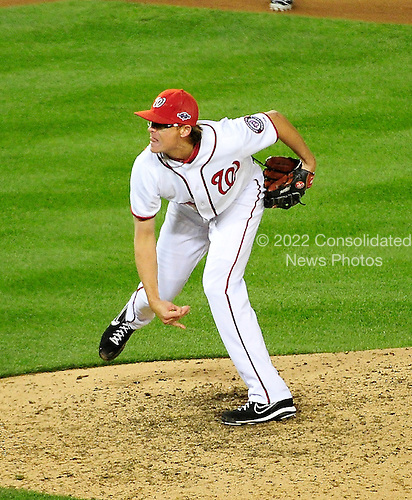 Washington Nationals pitcher Tyler Clippard (36) works in the eighth inning of game 5 of the NLDS against the St. Louis Cardinals at Nationals Park in  in Washington, D.C. on Friday, October 12, 2012.  The Cardinals won the game and the series 9 - 7..Credit: Ron Sachs / CNP