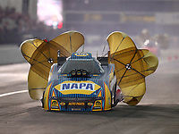 Feb 10, 2018; Pomona, CA, USA; NHRA funny car driver Ron Capps during qualifying for the Winternationals at Auto Club Raceway at Pomona. Mandatory Credit: Mark J. Rebilas-USA TODAY Sports