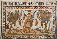 Picture of a Roman mosaics design depicting an owl, symbol of victory over envy. On either side of the Owl are symbols of Telegenii an North African Roman association. From the ancient Roman city of Thysdrus. 3rd century AD. El Djem Archaeological Museum, El Djem, Tunisia.