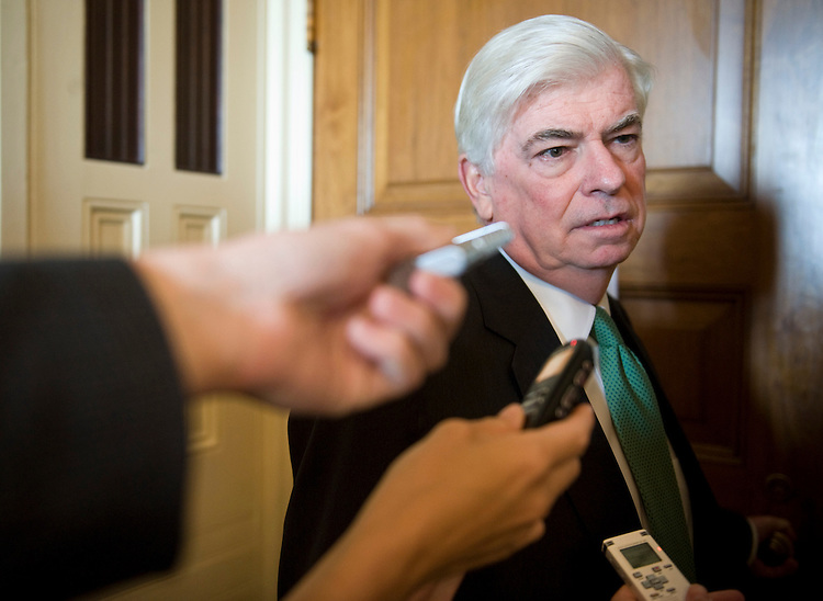 Sen. Chris Dodd, D-Conn., makes his way to a Senate Democrats' lunch following a vote on the Senate floor on Thursday, May 13, 2010.