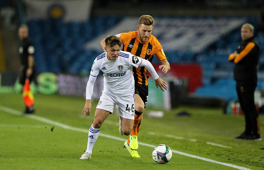 Leeds United's Jamie Shackleton shields the ball from Hull City's Callum Elder<br /> <br /> Photographer Alex Dodd/CameraSport<br /> <br /> Carabao Cup Second Round Northern Section - Leeds United v Hull City -  Wednesday 16th September 2020 - Elland Road - Leeds<br />  <br /> World Copyright © 2020 CameraSport. All rights reserved. 43 Linden Ave. Countesthorpe. Leicester. England. LE8 5PG - Tel: +44 (0) 116 277 4147 - admin@camerasport.com - www.camerasport.com