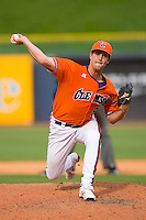Relief pitcher Clinton McKinney #8 of the Clemson Tigers in action versus the Duke Blue Devils at Durham Bulls Athletic Park May 22, 2009 in Durham, North Carolina.  (Photo by Brian Westerholt / Four Seam Images)