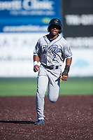 Tri-City Dust Devils shortstop Xavier Edwards (2) runs to third base during a Northwest League game against the Everett AquaSox at Everett Memorial Stadium on September 3, 2018 in Everett, Washington. The Everett AquaSox defeated the Tri-City Dust Devils by a score of 8-3. (Zachary Lucy/Four Seam Images)