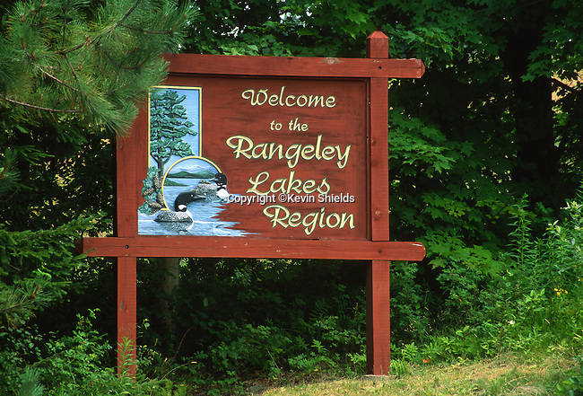 Carved sign in Rangeley, Maine, USA