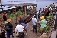 AJ2409, St. Martin, Caribbean, Marigot, Caribbean Islands, Local people unloading bananas from a banana boat in Marigot's harbor the French capital of the island of Saint Martin (french part).