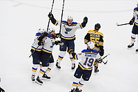June 12, 2019: St. Louis Blues center Ryan O'Reilly (90) celebrates his goal with teammates during game 7 of the NHL Stanley Cup Finals between the St Louis Blues and the Boston Bruins held at TD Garden, in Boston, Mass. Eric Canha/CSM
