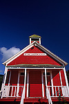 Little Red School House under blue skies Stone Lagoon Northern California USA