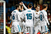 10th January 2018, Santiago Bernabeu, Madrid, Spain; Copa del Rey football, round of 16, 2nd leg, Real Madrid versus Numancia; Lucas Vazquez Iglesias (Real Madrid) Jose I. Fernandez Iglesias (Real Madrid), Theo Hernandez (Real Madrid) celebrates his goal which made it (1,0)