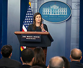 White House Press Secretary Sarah Sanders holds a news briefing at the White House in Washington, DC, August 1, 2018<br /> Credit: Chris Kleponis / CNP