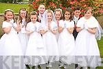 Ella Doyle, Tara Foley, Emma Kissane, Eoin O'Sullivan, Ciara Cronin, Lucy Breen, Liza Turc, Nicholas Doyle and Emily Kissane, Kilgobnet National School, pictured after they made their first Holy Communion in Beaufort on Saturday.