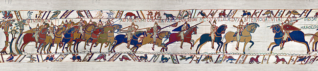 11th Century Medieval Bayeux Tapestry - Scene 48 - The Normans from up into battle formation. Scene 49 - William is told that the Saxon army is close. Battle of Hastings 1066