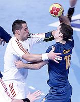Australia's Caleb Gahan (r) and Hungary's Szabolcs Szollosi during 23rd Men's Handball World Championship preliminary round match.January 14,2013. (ALTERPHOTOS/Acero) /NortePhoto