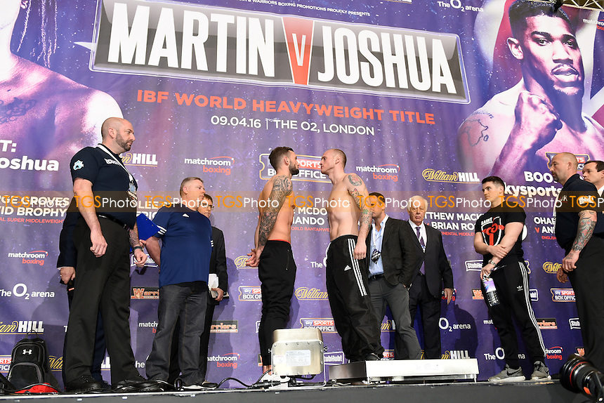 General view as George Groves and David Brophy weigh in during the Anthony Joshua vs Charles Martin Weigh-In at the O2 Arena on 8th April 2016