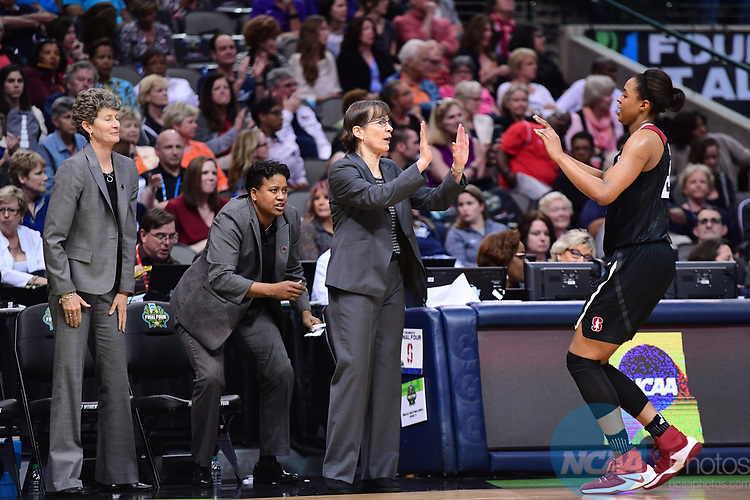 DALLAS, TX - MARCH 31:  Stanford head coach Tara VanDerveer high fives Erica McCall #24 of the Stanford Cardinal during the 2017 Women's Final Four at American Airlines Center on March 31, 2017 in Dallas, Texas. (Photo by Justin Tafoya/NCAA Photos via Getty Images)