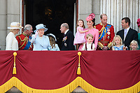Camilla, Duchess of Cornwall; Prince Charles, Prince of Wales; HM Queen Elizabeth II &amp; Prince Philip, Duke of Edinburgh; Catherine, Duchess of Cambridge; Princess Charlotte; Prince George &amp; Prince William, Duke of Cambridge; Savannah Phillips &amp; Peter Phillips on the balcony of Buckingham Palace following the Trooping of the Colour Ceremony celebrating the Queen's official birthday. London, UK. <br /> 17 June  2017<br /> Picture: Steve Vas/Featureflash/SilverHub 0208 004 5359 sales@silverhubmedia.com