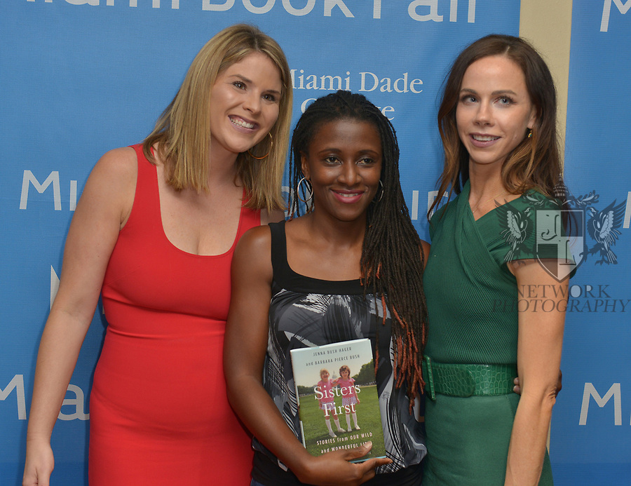 MIAMI, FL - NOVEMBER 16: Jenna Bush Hagar (L) and Barbara Pierce Bush (R) attend The Miami Book Fair at Miami Dade College Wolfson - Chapman Conference Center on November 16, 2017 in Miami, Florida.  ( Photo by Johnny Louis / jlnphotography.com )