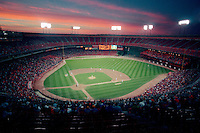 SAN FRANCISCO, CA - General overall stadium interior view of Candlestick Park at sunset in San Francisco, California in 1989. Candlestick Park was the home of the San Francisco Giants. Photo by Brad Mangin