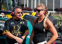 May 3, 2019; Commerce, GA, USA; Crew member for NHRA top fuel driver Leah Pritchett during qualifying for the Southern Nationals at Atlanta Dragway. Mandatory Credit: Mark J. Rebilas-USA TODAY Sports