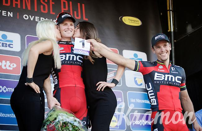 Last years winner Philippe Gilbert (BEL/BMC) holds his race number 1 up while fresh race winner Ben Hermans (BEL/BMC) receives his ceremonial kisses<br /> <br /> 55th Brabantse Pijl 2015