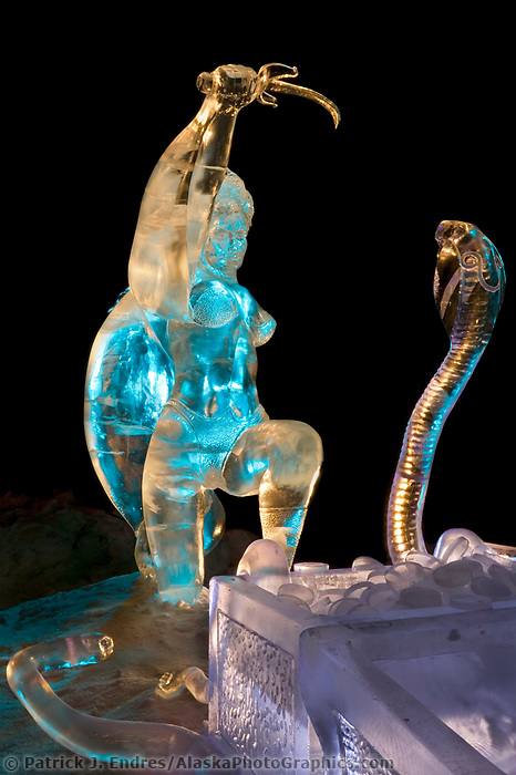 Ice Sculpture by Steve Brice, Heather Brown. Single Block 2004 World Ice Art Championships, Fairbanks Alaska.