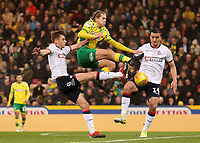 Bolton Wanderers' Craig Noone &amp; Jack Hobbs crowd out Norwich City's Todd Cantwell<br /> <br /> Photographer David Shipman/CameraSport<br /> <br /> The EFL Sky Bet Championship - Norwich City v Bolton Wanderers - Saturday 8th December 2018 - Carrow Road - Norwich<br /> <br /> World Copyright &copy; 2018 CameraSport. All rights reserved. 43 Linden Ave. Countesthorpe. Leicester. England. LE8 5PG - Tel: +44 (0) 116 277 4147 - admin@camerasport.com - www.camerasport.com
