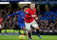 Luke Shaw of Manchester United in action during Chelsea vs Manchester United, Premier League Football at Stamford Bridge on 17th February 2020