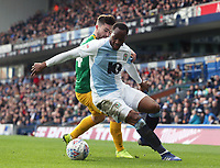 Blackburn Rovers' Ryan Nyambe shields the ball from Preston North End's Sean Maguire<br /> <br /> Photographer Rich Linley/CameraSport<br /> <br /> The EFL Sky Bet Championship - Blackburn Rovers v Preston North End - Saturday 9th March 2019 - Ewood Park - Blackburn<br /> <br /> World Copyright © 2019 CameraSport. All rights reserved. 43 Linden Ave. Countesthorpe. Leicester. England. LE8 5PG - Tel: +44 (0) 116 277 4147 - admin@camerasport.com - www.camerasport.com