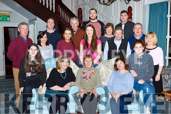 Bridie Friel Kilcummin celebrated her 86th birthday with her family in the Killarney Avenue Hotel on Saturday night front row l-r: Juliana Friel, Maura Friel-Lynch, Bridie Friel, Helen Friel-McSweeney, Alana Friel. Back row; John Lynch, Yvonne Lane, Liam Regan, Niamh McSweeney, Terence McSweeney, Grainne Lynch, Gearoid O'Leary, Marie Friel, Tom, John, Mike and Katie Friel