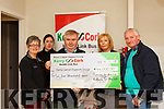 Breda and Dermot Lynch gives a donation of €44,000 from the Glenflesk Running Group who raised funds in honour of her 18-year old daughter Leah who was diagnosed with cancer and the money is been presented for the Kerry Cork Health Link Bus. L-r, Breda Dyland, Trish kelly, Dan Horan, Breda and Dermot Lynch.