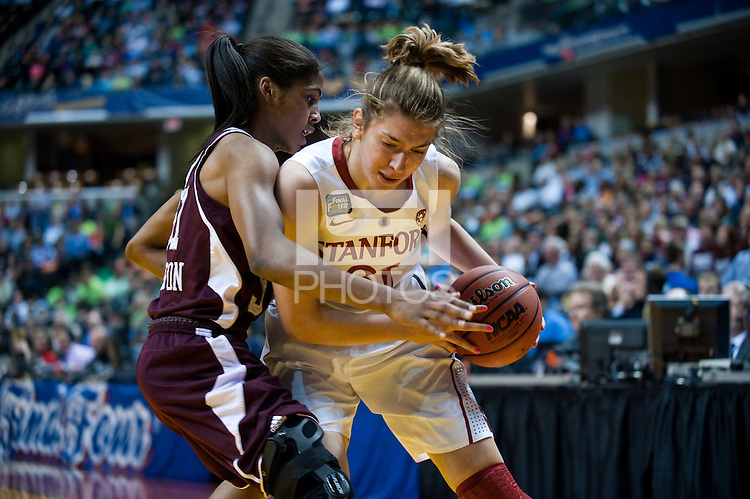 INDIANAPOLIS, IN - APRIL 3, 2011: Toni Kokenis battles through a block at Conseco Fieldhouse against Texas A&M at Conseco Fieldhouse during the NCAA Final Four  in Indianapolis, IN on April 1, 2011.