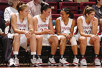 13 November 2005: Kristen Newlin, Jillian Harmon, Rosalyn Gold-Onwude, and Brooke Smith during Stanford's 92-65 win over Love and Basketball at Maples Pavilion in Stanford, CA.