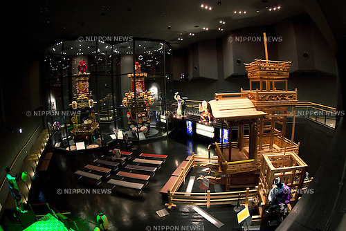 "February 14, 2013, Kawagoe, Japan - The Kawagoe Festival Museum exhibits two kinds of dashi (portable shrine). An old town from Edo Period (1603-1867) is located in Kawagoe, 30 minutes by train from central Tokyo. In the past Kawagoe was an important city for trade and strategic purpose, the shogun installed some of their most important loyal men as lords of Kawagoe Castle. Every year ""Kawagoe Festival"" is held in the third weekend of October, people pull portable shrine during the parade, later ""dashi"" floats on the streets nearby. The festival started 360 years ago supported by Nobutsuna Matsudaira, lord of Kawagoe Castle. (Photo by Rodrigo Reyes Marin/AFLO).."