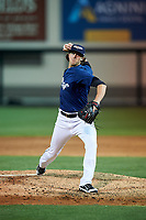 Lakeland Flying Tigers relief pitcher Zac Reininger (18) delivers a pitch during a game against the Jupiter Hammerheads on April 17, 2017 at Joker Marchant Stadium in Lakeland, Florida.  Lakeland defeated Jupiter 5-1.  (Mike Janes/Four Seam Images)