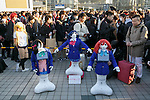 SoftBank's humanoid robots Pepper dressed with school uniforms on display during the Comic Market 91 (Comiket) event at Tokyo Big Sight on December 29, 2016, Tokyo, Japan. Manga and anime fans arrived in the early morning hours on the opening day of the 3-day long event. Held twice a year in August and December, the Comiket has been promoting manga, anime, game and cosplay culture since its establishment in 1975. (Photo by Rodrigo Reyes Marin/AFLO)