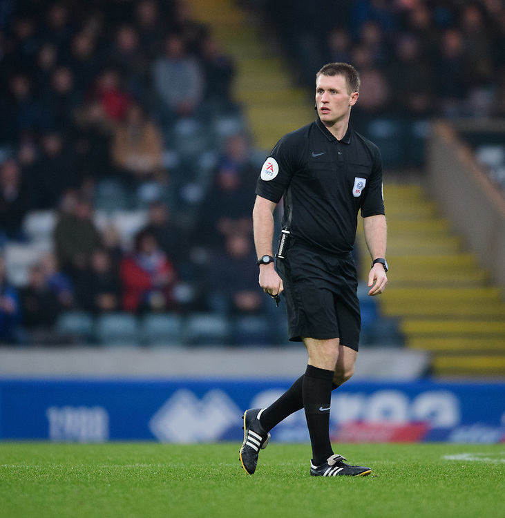 Referee Thomas Bramall<br /> <br /> Photographer Chris Vaughan/CameraSport<br /> <br /> The EFL Sky Bet League One - Rochdale v Blackpool - Wednesday 26th December 2018 - Spotland Stadium - Rochdale<br /> <br /> World Copyright © 2018 CameraSport. All rights reserved. 43 Linden Ave. Countesthorpe. Leicester. England. LE8 5PG - Tel: +44 (0) 116 277 4147 - admin@camerasport.com - www.camerasport.com