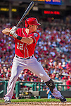 28 September 2014: Washington Nationals first baseman Tyler Moore stands at bat against the Miami Marlins at Nationals Park in Washington, DC. The Nationals shut out the Marlins 1-0, caping the season with the first Nationals no-hitter in modern times. The win also notched a 96 win season for the Nats: the best record in the National League. Mandatory Credit: Ed Wolfstein Photo *** RAW (NEF) Image File Available ***