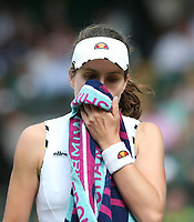 Johanna Konta (GBR) during her match against Barbora Strycova (CZE) in their Ladies' Singles Quarter-Finals match<br /> <br /> <br /> Photographer Rob Newell/CameraSport<br /> <br /> Wimbledon Lawn Tennis Championships - Day 8 - Tuesday 9th July 2019 -  All England Lawn Tennis and Croquet Club - Wimbledon - London - England<br /> <br /> World Copyright © 2019 CameraSport. All rights reserved. 43 Linden Ave. Countesthorpe. Leicester. England. LE8 5PG - Tel: +44 (0) 116 277 4147 - admin@camerasport.com - www.camerasport.com