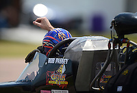 Apr. 28, 2012; Baytown, TX, USA: Aerial view of NHRA top fuel dragster driver Rob Passey during qualifying for the Spring Nationals at Royal Purple Raceway. Mandatory Credit: Mark J. Rebilas-
