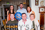 l-r Celebrating his 28th birthday was Eoin Dunne and celebrating his 40th birthday was Liam Brennan from Ardfert, seated next Sharon Brennan. Back l-r  Barry O'Sullivan, Catherine O'Sullivan and Triona Casey at Bella Bia's on Saturday