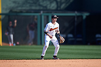 Oregon State Beavers second baseman Richie Mascareñas (13) during an NCAA game against the New Mexico Lobos at Surprise Stadium on February 14, 2020 in Surprise, Arizona. (Zachary Lucy / Four Seam Images)