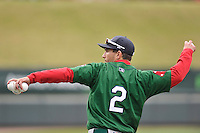 Coach Nate Spears (2) of the Greenville Drive in a team workout on Wednesday, April 6, 2016, at Fluor Field at the West End in Greenville, South Carolina. (Tom Priddy/Four Seam Images)